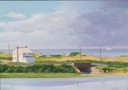 Heidi Palmer (Swiss/American, 20th/21st Century)    Lot of Two Block Island Views: House on the Cliffs