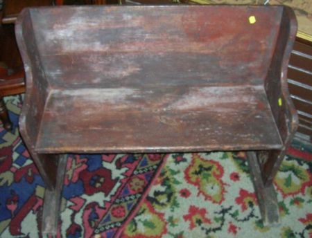Country Red Painted Wooden Wagon Bench