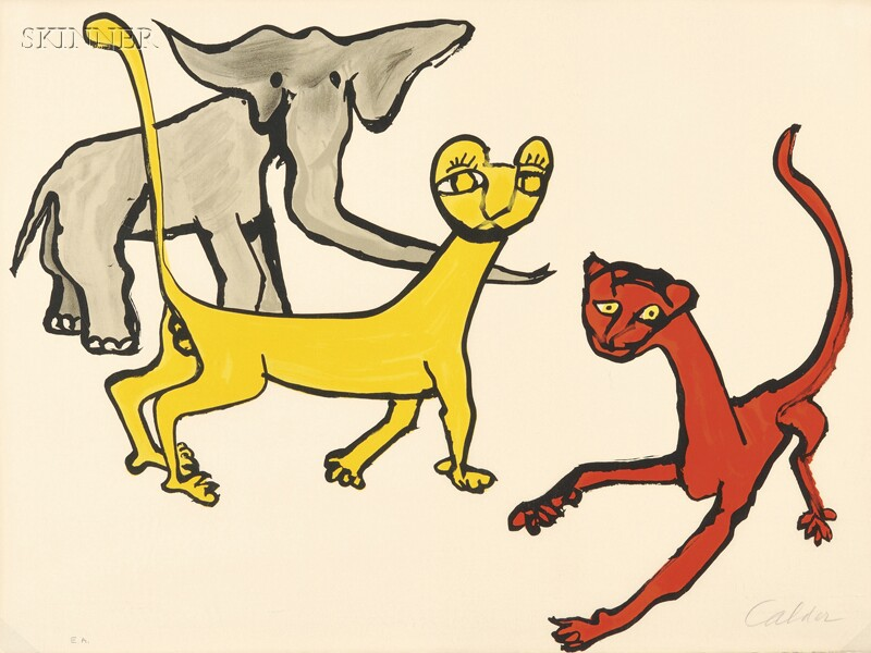 Alexander Calder (American, 1898-1976)      Untitled (Elephant and Big Cats).