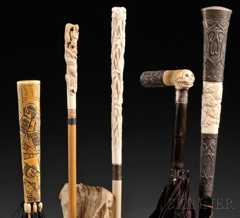 Five Edwardian Ivory-handled Parasols