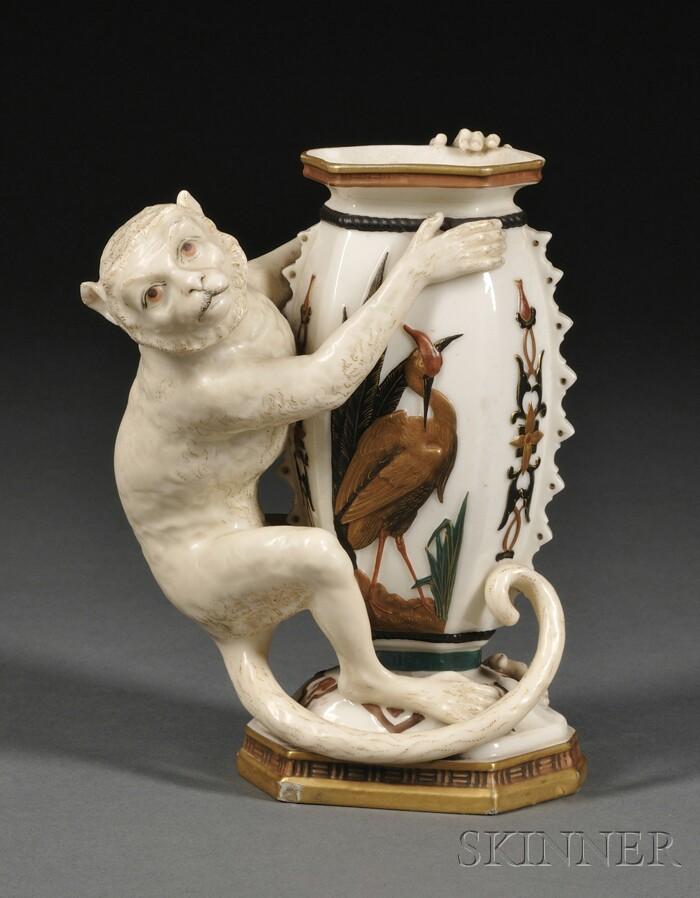 Royal Worcester Porcelain Vase with Monkey
