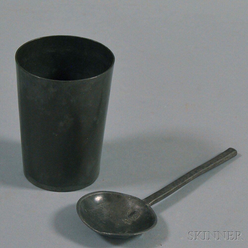 Pewter Beaker and English Pewter Soupspoon