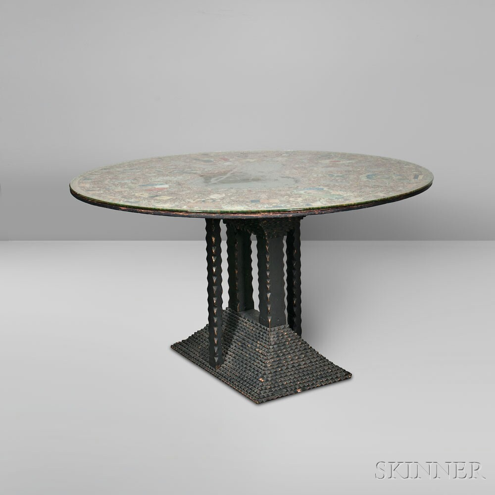 Tramp Art Center Table with Cigar Decoupage Top