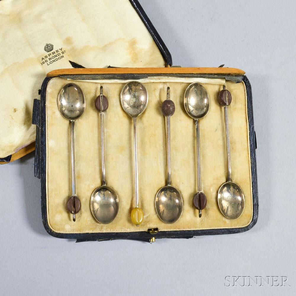 Five Asprey Sterling Silver Demitasse Spoons
