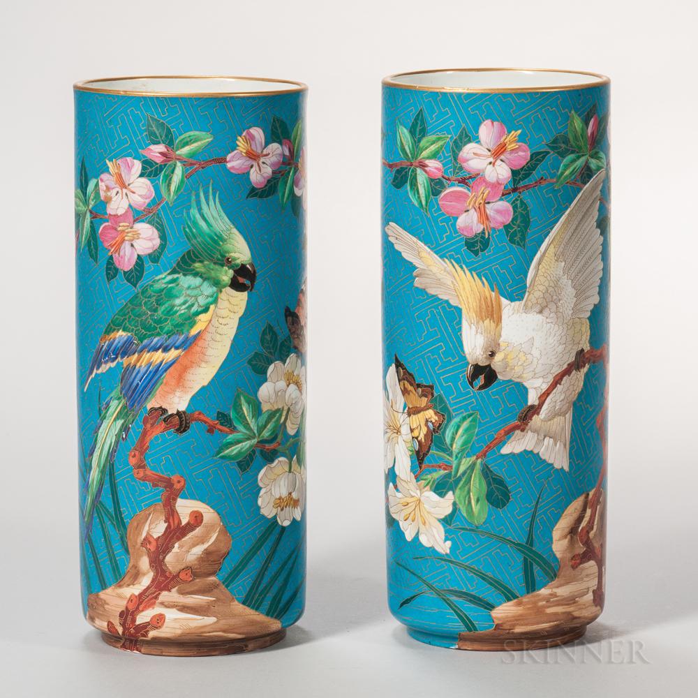 Pair of Bernardaud & Co. Limoges Porcelain Cloisonne-style Vases
