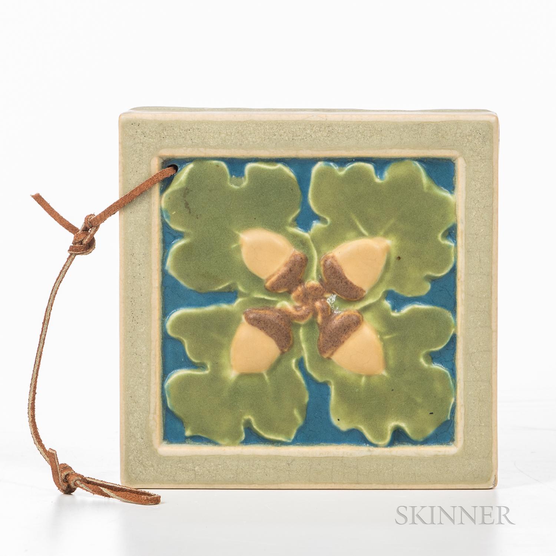 Rookwood Faience Acorn Tile