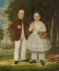 Attributed to John Carlin (New York City, 1813-1891) Portrait of William Stoughton Conant, Jr. (1844-1922) and his sister, Gertrude Cor