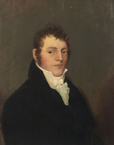 American School, 19th Century  Portrait of Ebenezer French (1787-1850). Unsigned.  Oil on wood panel