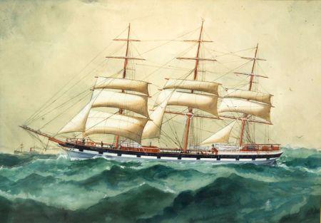 William Sterna Barratt  (American, 1854-1927)    Portrait of the Sailing Vessel Nelson