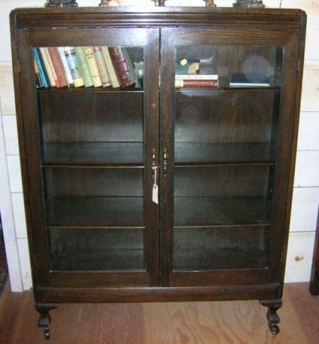 British 1920s Oak Two-Door Book Cabinet