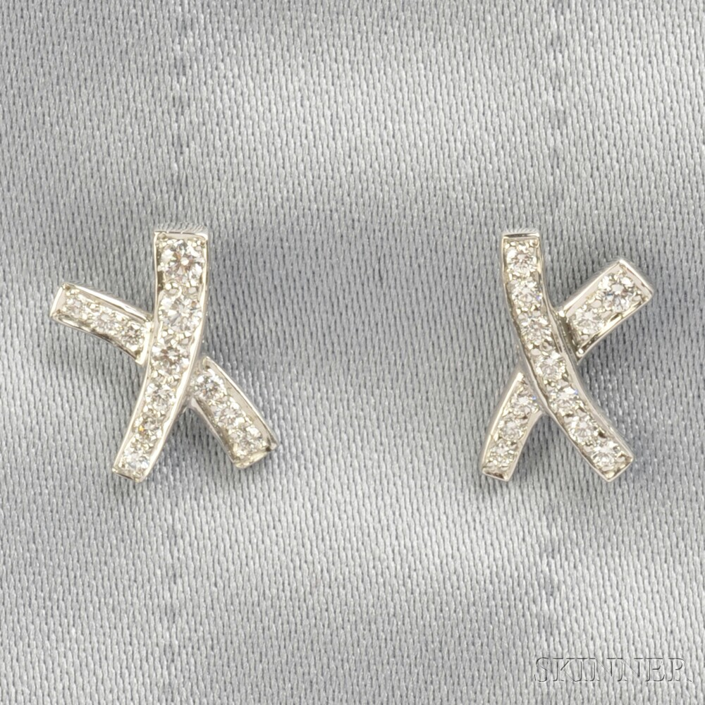 Platinum And Diamond X Earrings Paloma Pico Tiffany Co