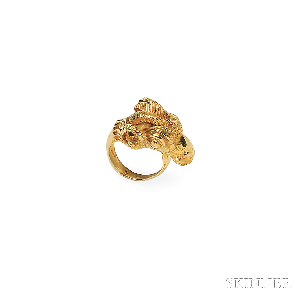 18kt Gold Ram's Head Ring and Earrings