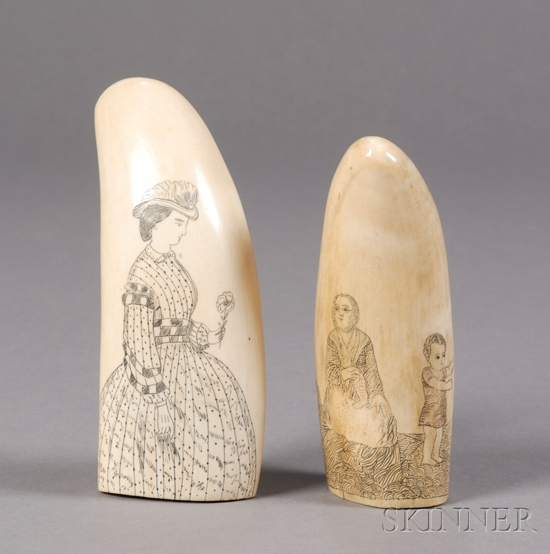 Two Scrimshaw Whale's Teeth