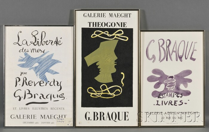 After Georges Braque (French, 1882-1963) Lot of Three Galerie Maeght Exhibition Posters: La Liberte des Mers par P. Reverdy, Theogon...