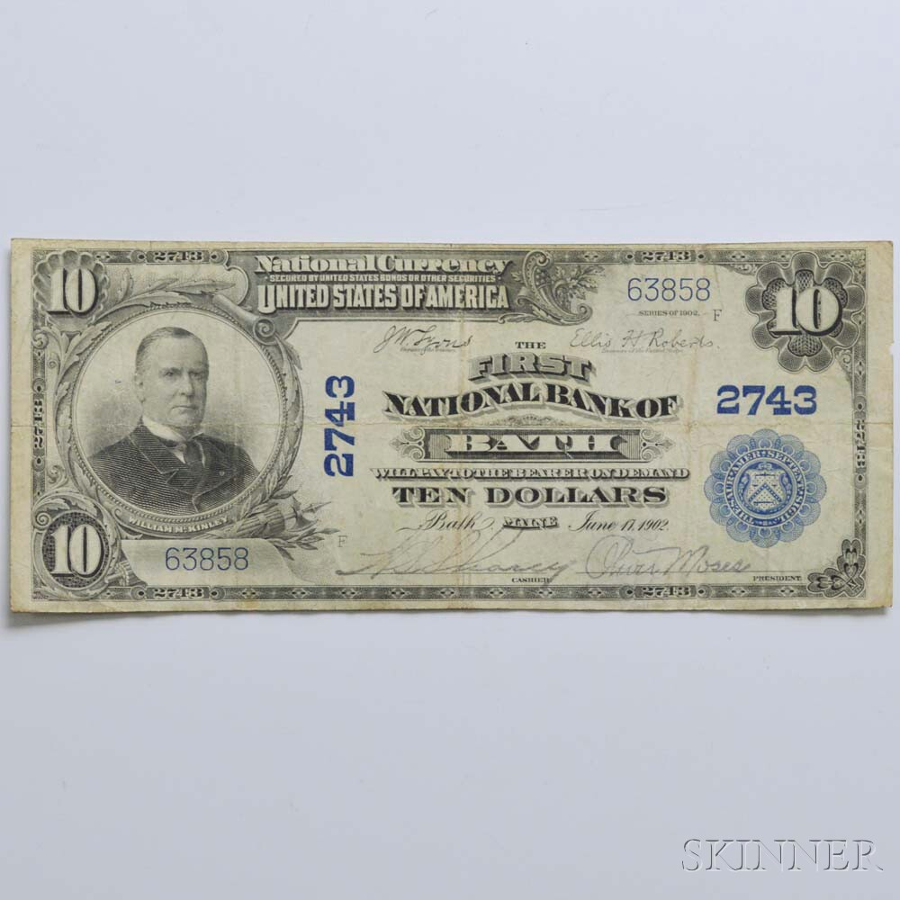 1902 The First National Bank of Bath $10 Plain Back Note