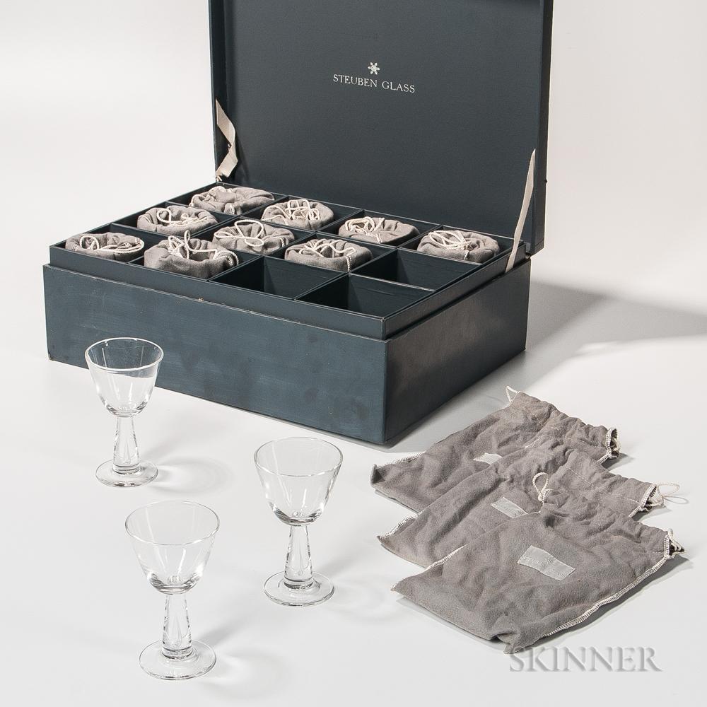 Boxed Set of Twelve Steuben Teardrop Wineglasses