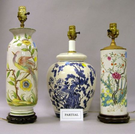 Pair of Chinese Export Polychrome Decorated Porcelain Vase Table Lamps, a...