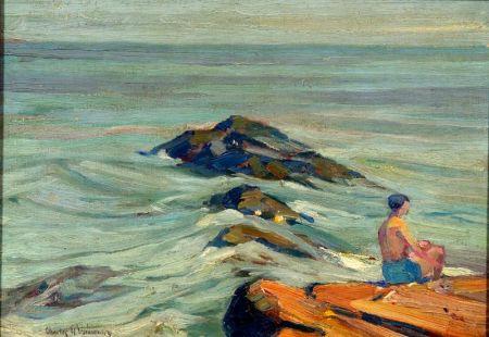Charles Herbert Woodbury (American, 1864-1940)    Bather on the Rocks