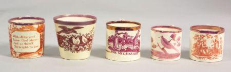 Five Sunderland Pink Lustre and Transfer Decorated Children's Drinkware