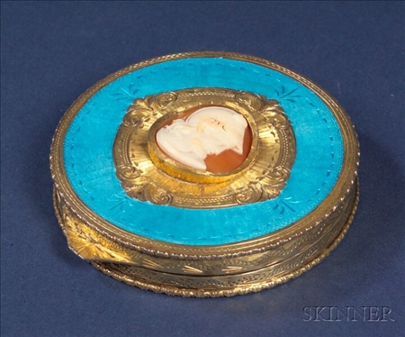 Continental .800 Silver Gilt, Enamel and Cameo Mounted Compact