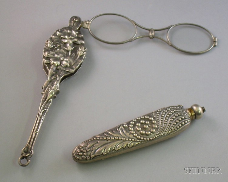 Pair of Unger Bros. Art Nouveau Repousse Lorgnettes and a Arts and Crafts Repousse Sterling Silver Perfume....