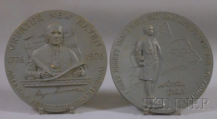 Two Commemorative U.S. Bicentennial Painted Cast Ceramic Plaques