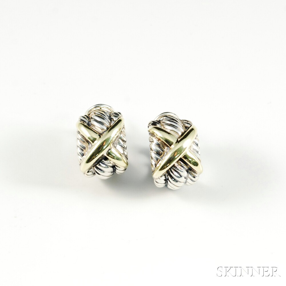 David Yurman Sterling Silver and 14kt Gold Hoop Earrings