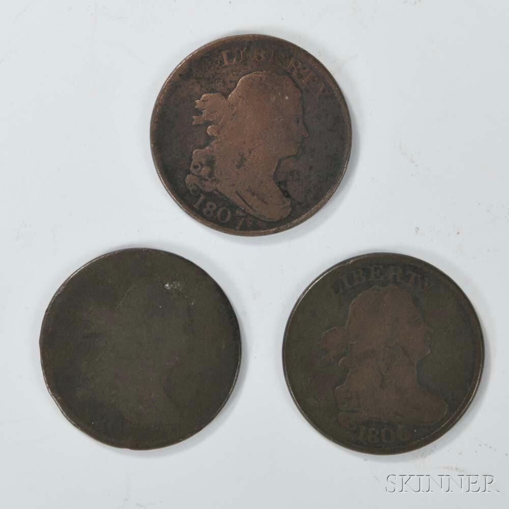 Three Draped Bust Half Cents