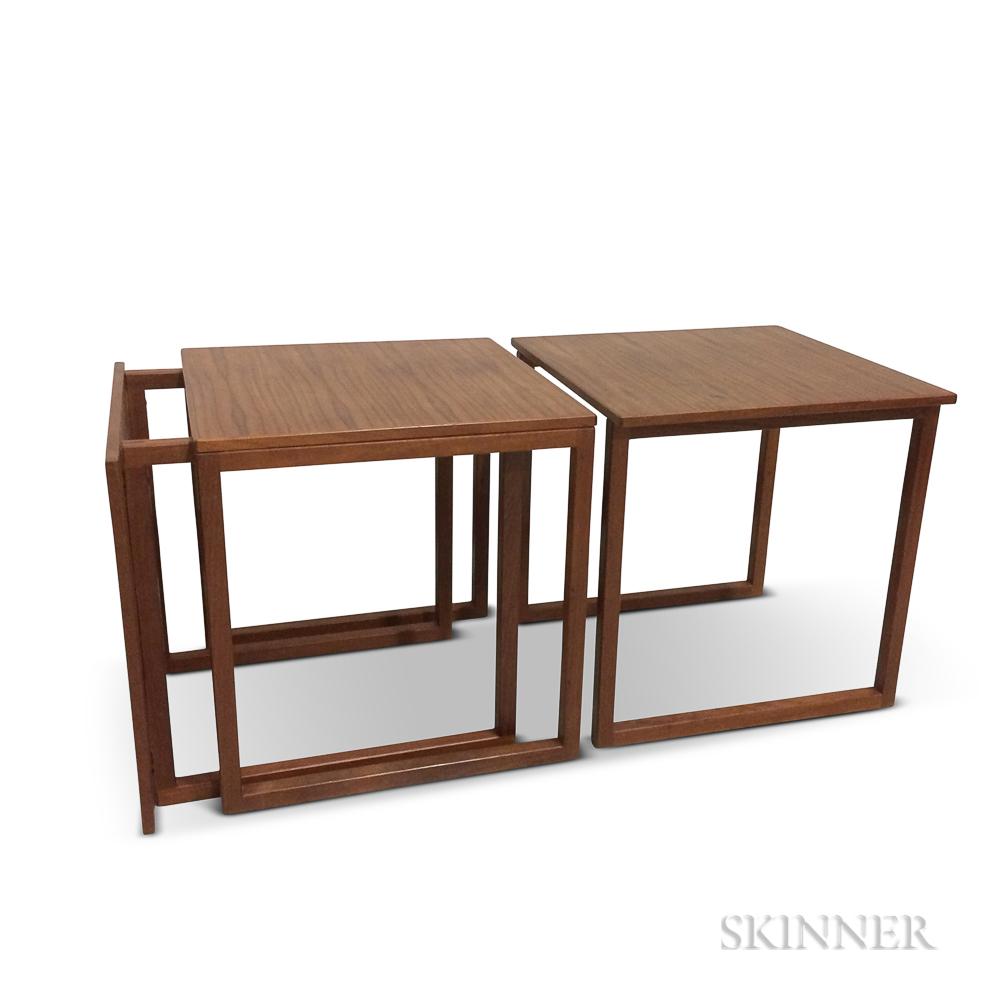 """Three Kai Kristiansen for Vildberg Mobelfabrik """"Cube"""" Nesting Tables"""