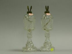 Pair of Colorless Sawtooth Glass Oil Lamps.