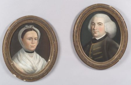 In the Manner of John Singleton Copley (American, 1738-1815)      Pair of  Portraits of Mr. and Mrs. Azor Orne.