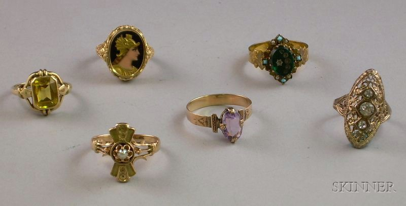 Six Victorian Gold and Sterling Silver Rings.
