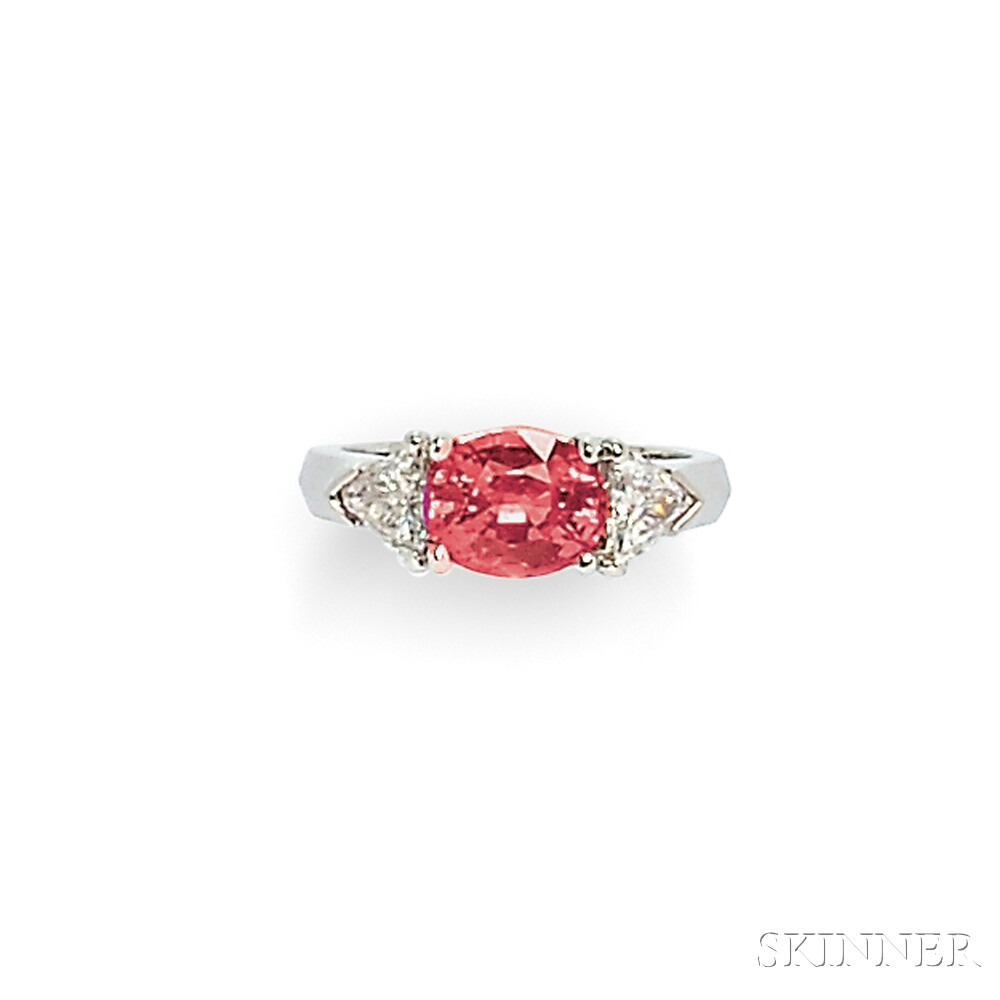 18kt White Gold, Pink Sapphire, and Diamond Ring