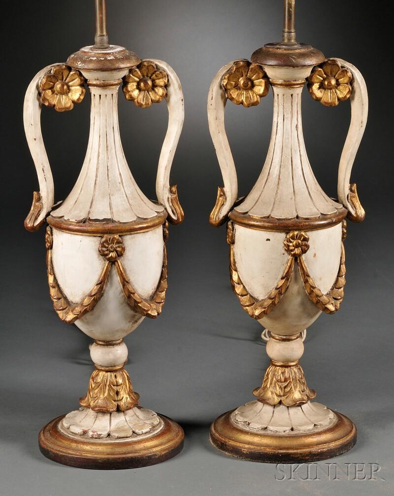 Pair of Parcel-gilt Composite Lamps