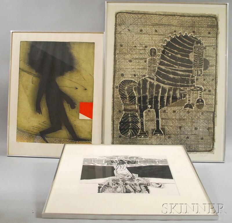 Three Prints:      Arthur Deshaies (American, 1920-2011), Hornet's Nest