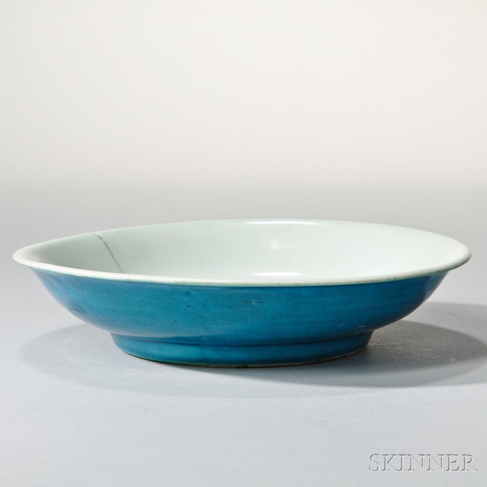 Turquoise Blue-glazed White Porcelain Dish