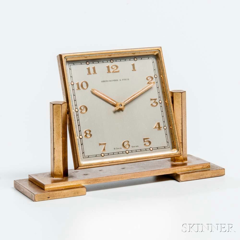 Abercrombie & Fitch Eight-day Brass and Glass Desk Clock
