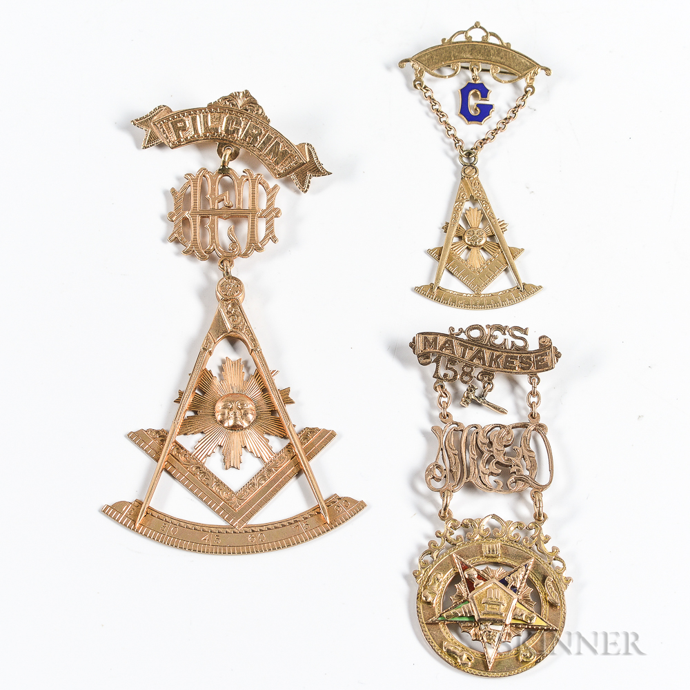 Three Gold Masonic/Order of the Easter Star Pins