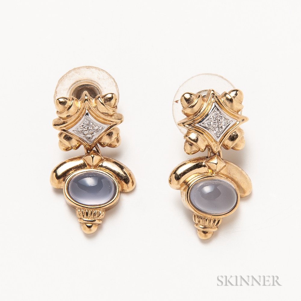 Pair of 14kt Gold, Chalcedony, and Diamond Earrings