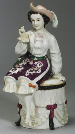 Large Porcelain Trinket Box of a Woman with a Cigar