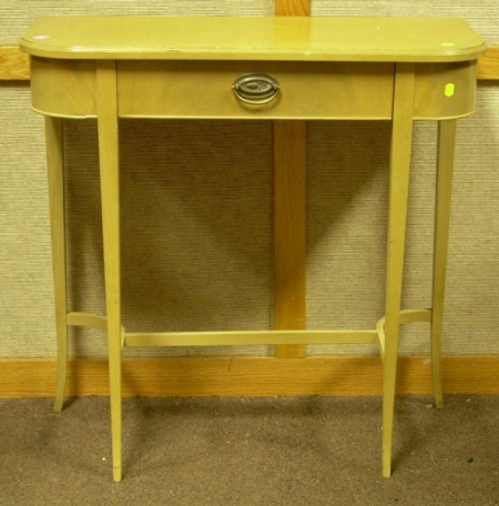 Federal-style Blonde Mahogany D-shaped One-Drawer Side Table.