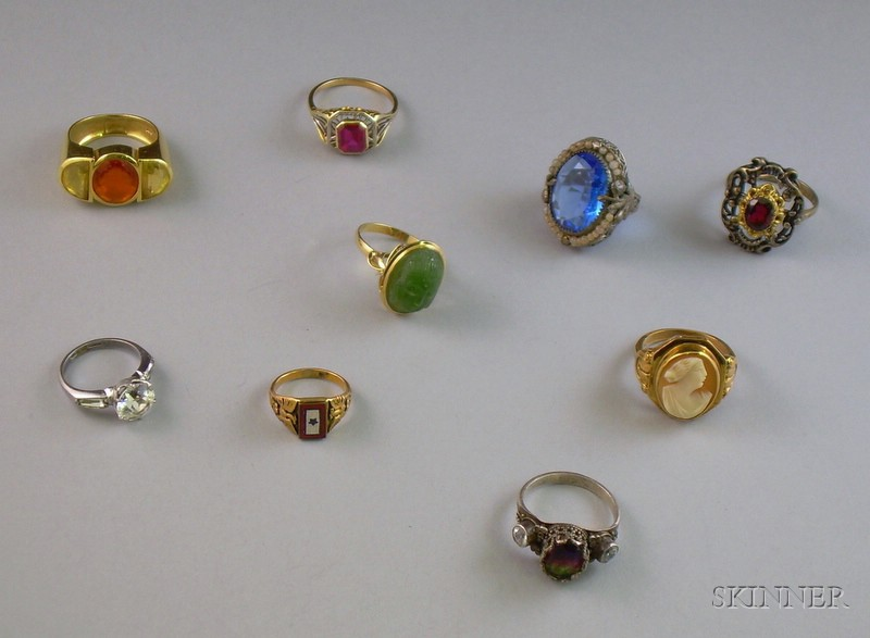 Nine Victorian and Later Gold and Silver Rings