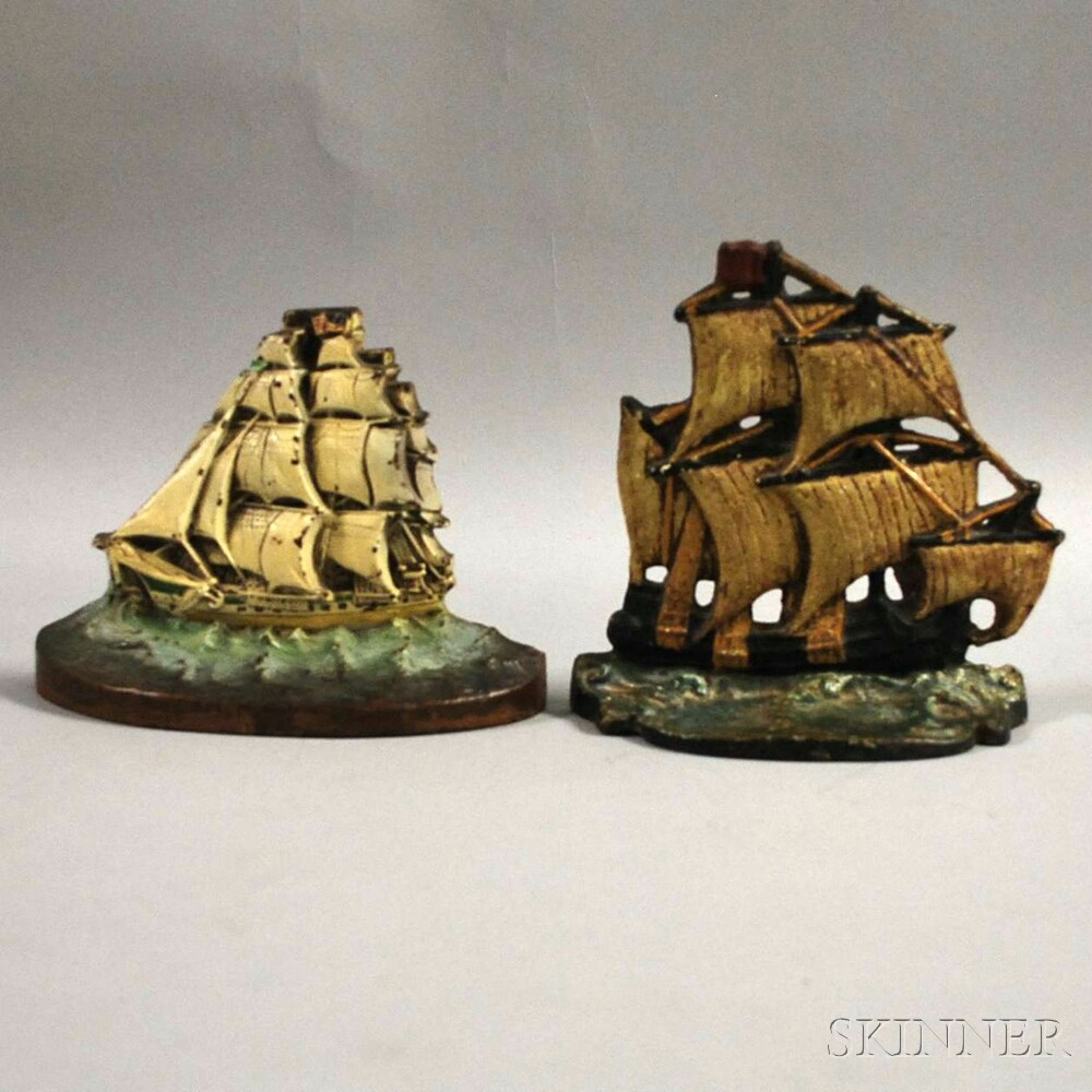 Two Polychrome-painted Cast Iron Ship Doorstops