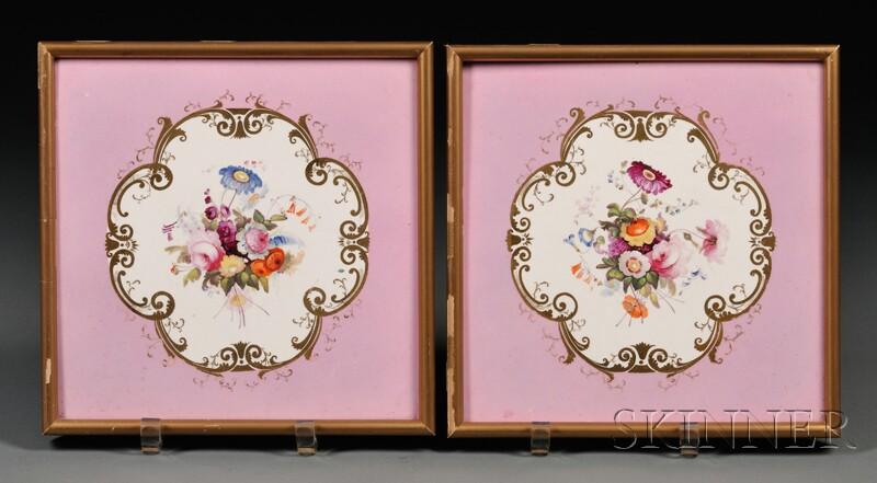 Pair of Framed Lavender-ground Tiles