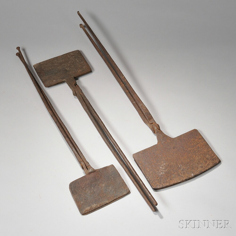 Three Wrought Iron Wafer Irons