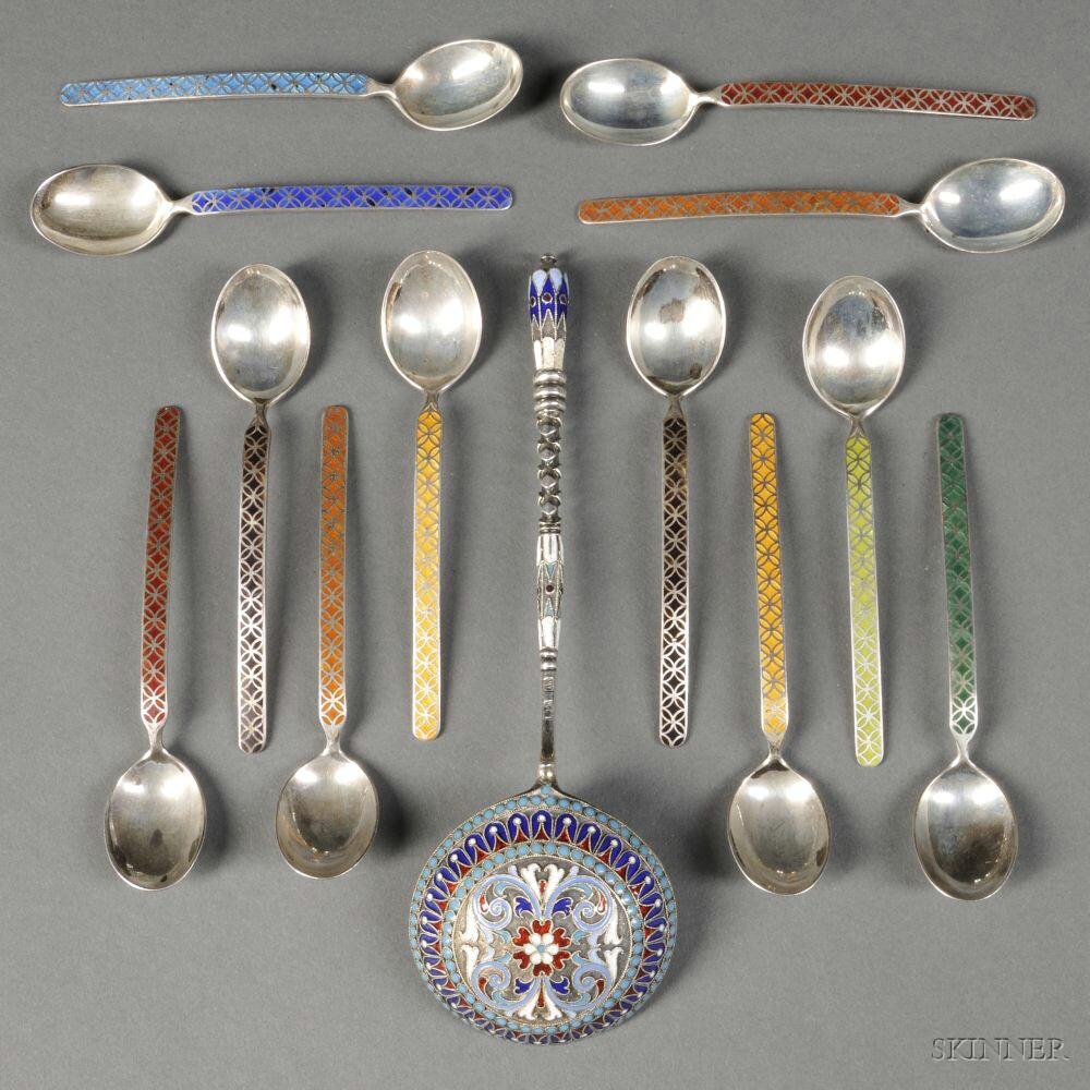Russian Enameled .875 Silver Spoon
