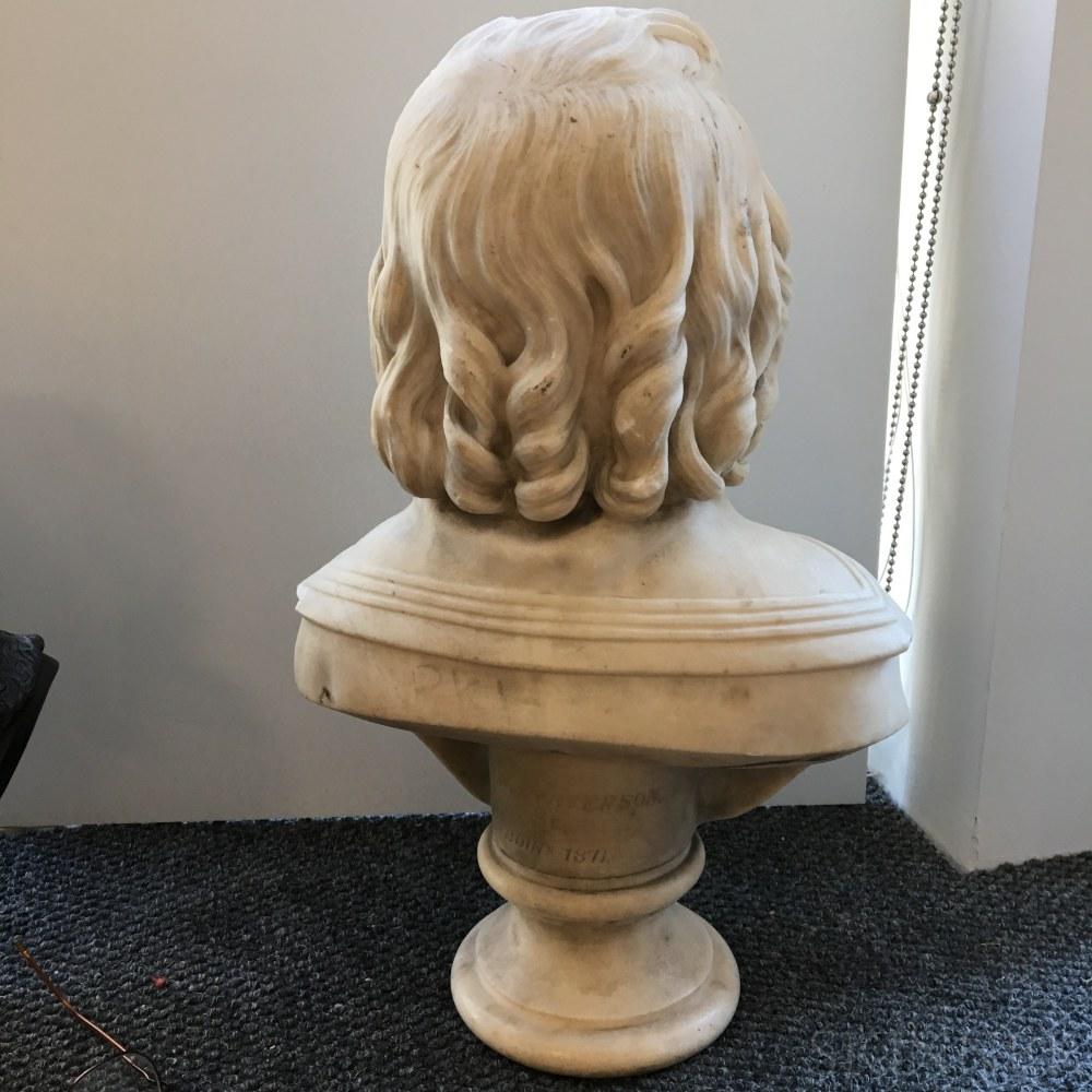 David Watson Stevenson (Scottish, 1842-1904)    Marble Bust of a Boy