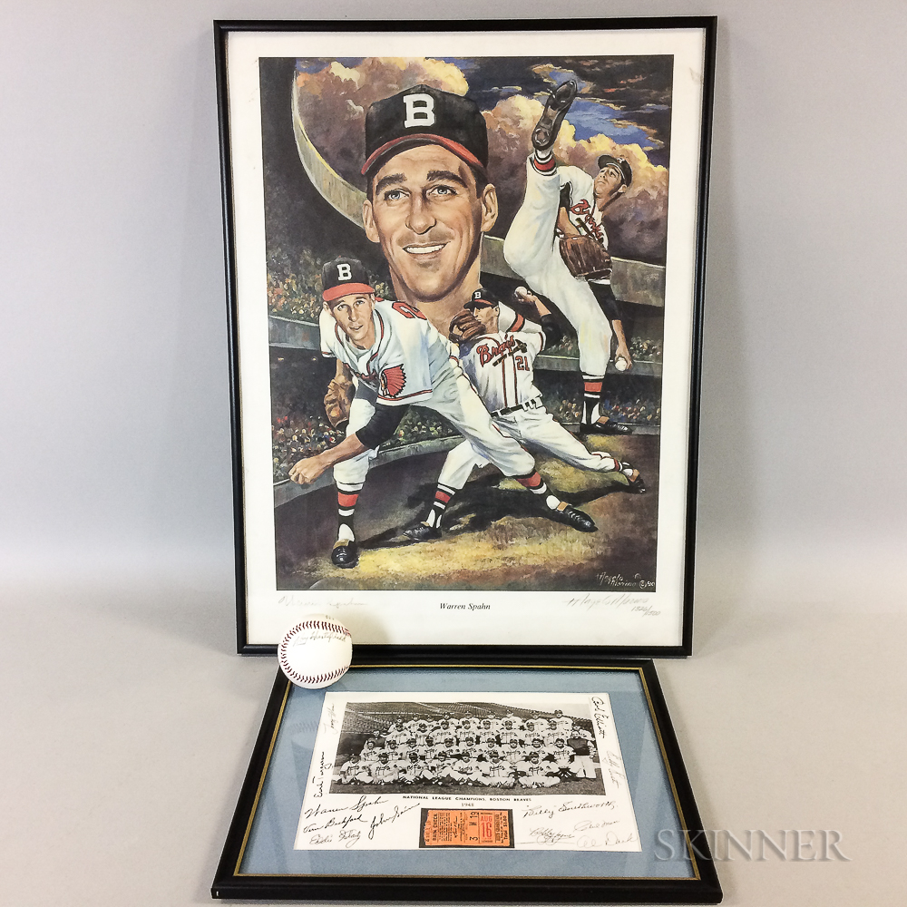 Clint Conatser and Roy Hartsfield Autographed Baseball, a Warren Spahn Print, and a Framed 1948 Boston Braves Ticket Stub.