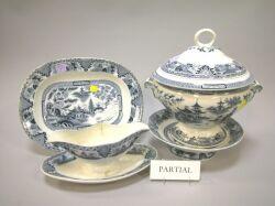 Fifty-eight Piece Villeroy & Boch Blue Willow Porcelain Partial Dinner Service.