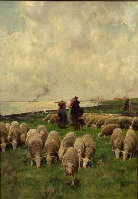 Franz van Leemputten (Dutch, 1850-1914)    Grazing Flock on the Shore